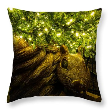 Throw Pillow featuring the photograph Christmas Squirrel  by Jay Stockhaus
