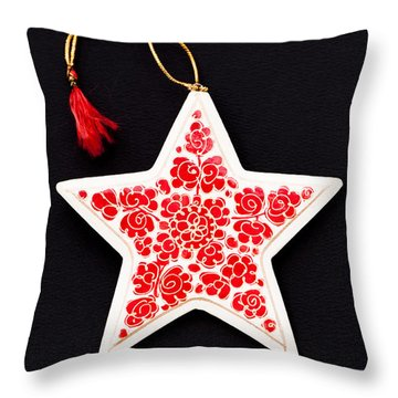 Christmas Star Throw Pillow by Anne Gilbert