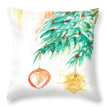 Throw Pillow featuring the painting Christmas Star by Teresa White