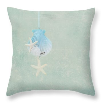 Christmas Starfish Throw Pillow by Kim Hojnacki