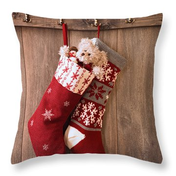 Christmas Stockings Throw Pillow by Amanda Elwell