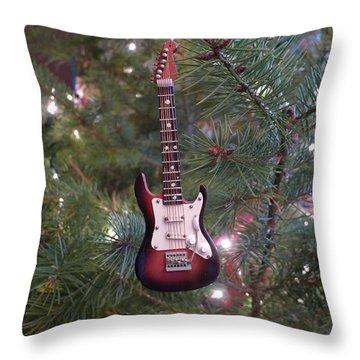 Christmas Stratocaster Throw Pillow