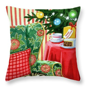 Christmas Tea Throw Pillow by Lavinia Hamer