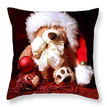 Christmas Teddy Throw Pillow by Terri Waters
