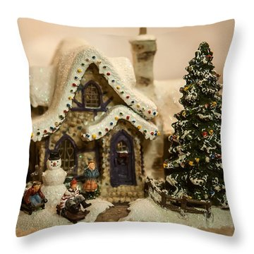 Throw Pillow featuring the photograph Christmas Toy Village by Alex Grichenko
