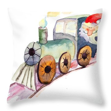 Christmas Train With Santa Claus Throw Pillow