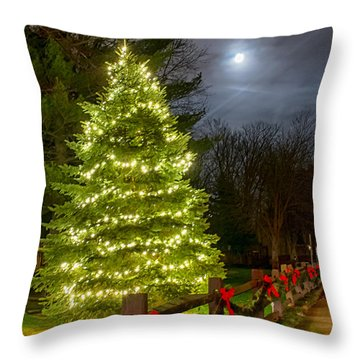 Christmas Tree And Full Moon Throw Pillow