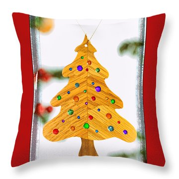 Christmas Tree Art Ornament In Red  Throw Pillow