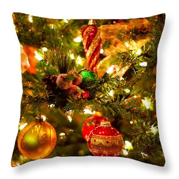 Christmas Tree Background Throw Pillow by Elena Elisseeva