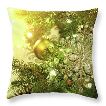 Christmas Tree Decorations With Sparkle Background Throw Pillow