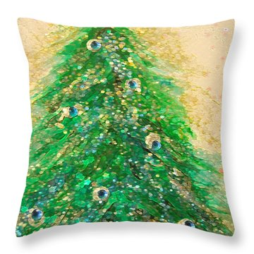 Christmas Tree Gold By Jrr Throw Pillow