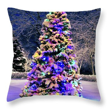 Christmas Tree In Snow Throw Pillow