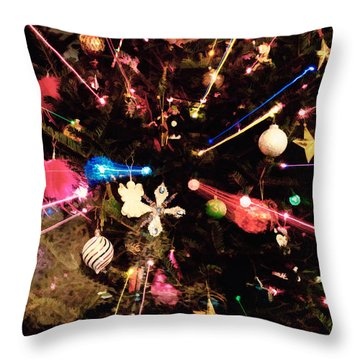 Throw Pillow featuring the photograph Christmas Tree Lights by Vizual Studio