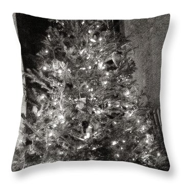 Christmas Tree Memories Monochrome Throw Pillow