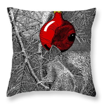 Christmas Tree Squirrel With Red Ornament Throw Pillow