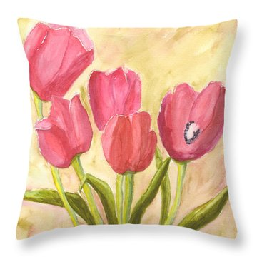 Tulip Time Throw Pillow by Mickey Krause