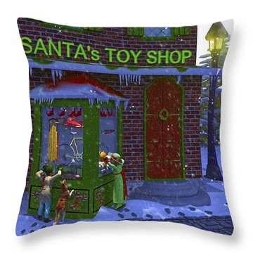 Christmas Window Shopping Throw Pillow by Ken Morris