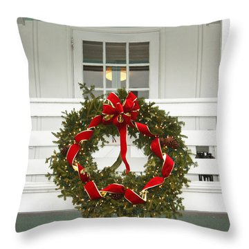 Throw Pillow featuring the photograph Christmas Wreath by Ann Murphy