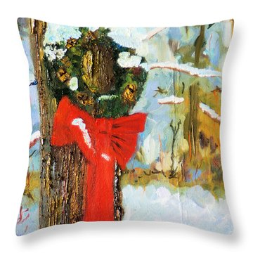 Christmas Wreath Throw Pillow
