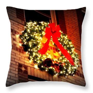 Throw Pillow featuring the photograph Christmas Wreath On Bronx Walk-up by Aurelio Zucco