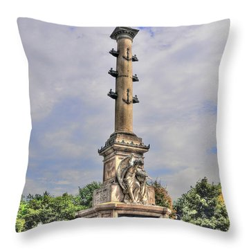 Christopher Columbus Monument At Columbus Circle In Manhattan Throw Pillow by Randy Aveille