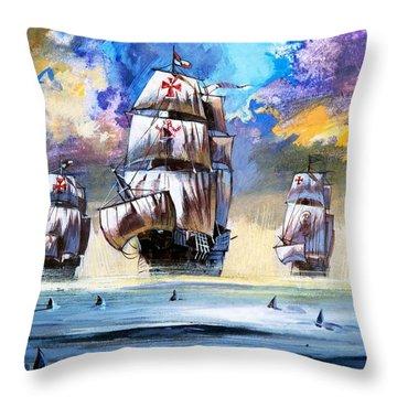 Christopher Columbus's Fleet  Throw Pillow by English School