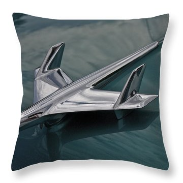 Chrome Airplane Hood Ornament Throw Pillow