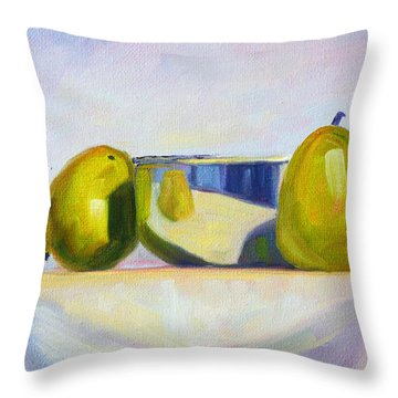 Chrome And Pears Throw Pillow by Nancy Merkle