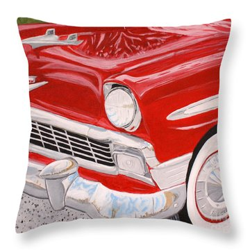 Chrome King 1956 Bel Air Throw Pillow by Vicki Maheu