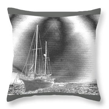 Chromed Sailboats In Key Largo Throw Pillow by Belinda Lee