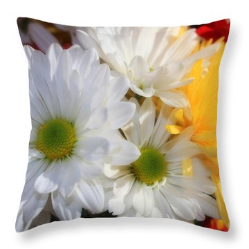 Chrysanthemum Punch Throw Pillow by Cathy  Beharriell