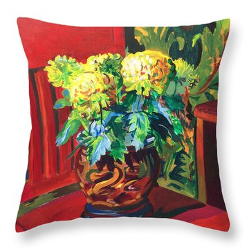 Throw Pillow featuring the painting Chrysanthemums On Red Chair by Clyde Semler