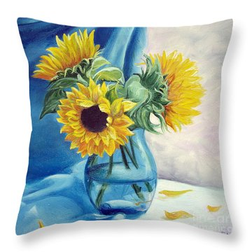 Throw Pillow featuring the painting Chrysanthemums by Sorin Apostolescu