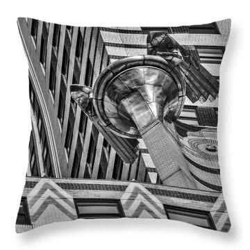 Chrysler Building Gargoyle Bw Throw Pillow by Susan Candelario
