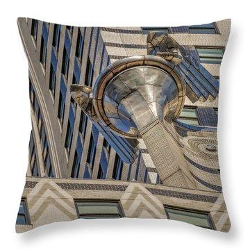 Chrysler Building Gargoyle Throw Pillow by Susan Candelario