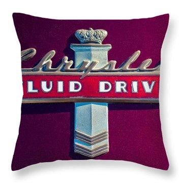 Chrysler Fluid Drive Emblem Throw Pillow by Jill Reger