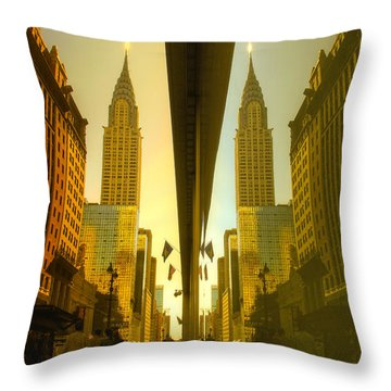Chrysler Reflection On 42nd Street Throw Pillow