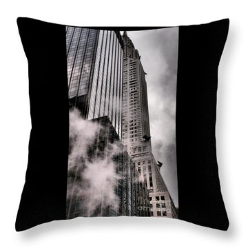 Chrysler Building With Gargoyles And Steam Throw Pillow by Miriam Danar