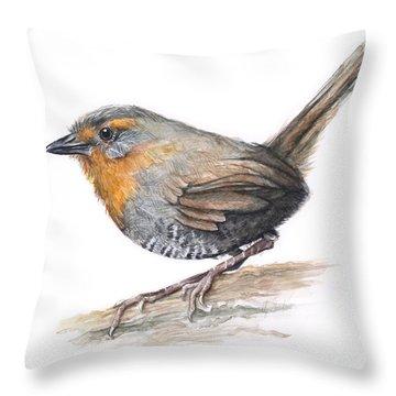 Chucao Tapaculo Watercolor Throw Pillow