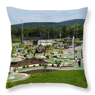Chuckster's Mini Golf Course Throw Pillow by Christina Rollo