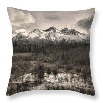 Chugach Mountain Range Throw Pillow