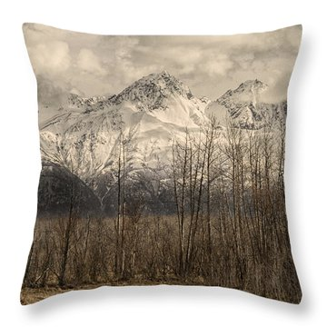 Chugach Mountains In Storm Throw Pillow