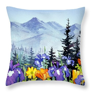 Throw Pillow featuring the painting Chugach Summer by Teresa Ascone