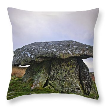 Chun Quoit An Ancient Burial Chamber On The Moors Of Cornwall Throw Pillow
