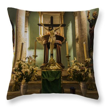 Church Altar Throw Pillow by Aged Pixel