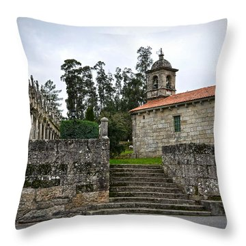 Church And Cemetery In A Small Village In Galicia Throw Pillow