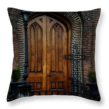 Church Arch And Wooden Door Architecture Throw Pillow