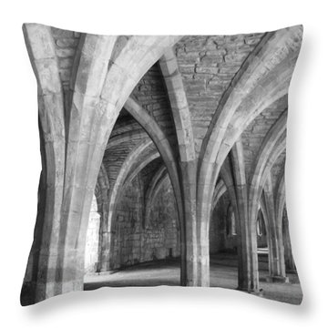 Throw Pillow featuring the photograph Church Archways In Black And White by Susan Leonard