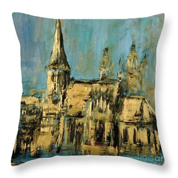 Throw Pillow featuring the painting Church by Arturas Slapsys