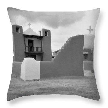 Church At Taos Pueblo Throw Pillow by David and Carol Kelly